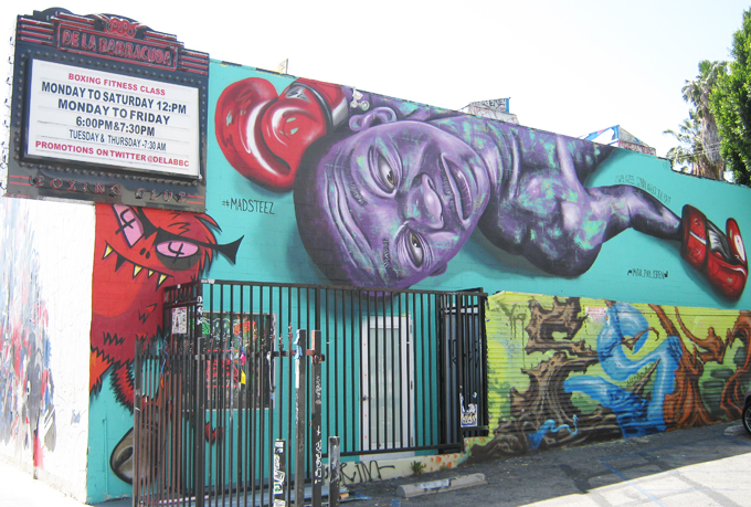 Boxer, mural by Madsteez, Melrose Avenue, Miracle Mile, Los Angeles